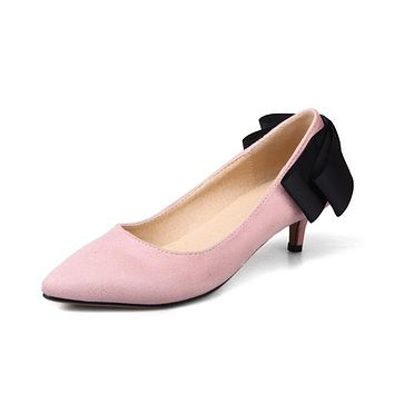 Pointed Toe Shallow Mouth Bow Knot Women Pumps Stiletto Middle Heels