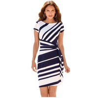 7-Attract Autumn work dresses women Bohemian  Pencil Black Red Navy White Stripe Knot Sheath Party Vestidos Robes Casual Party Dress