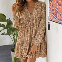 2020 New Leopard Long Sleeve V-neck Sexy Slim Women's Dress