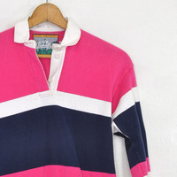 25% OFF SALE Vintage Rugby Polo • Striped Long Sleeve Polo • Rugby Striped Top • Pink + Navy Shirt • Columbia Knit Rugby Polo • Striped Polo
