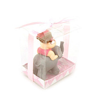 Baby Favors Souvenir, 3-3/4-Inch, Baby and Elephant, Light Pink