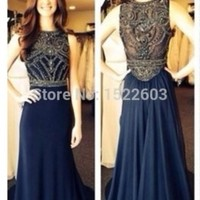 New Fashion Scoop Off Shoulder Beading Sequin Floor Length Satin Blue Champagne Long Sexy Prom Dresses 2015 Formal Gowns S410-in Prom Dresses from Apparel & Accessories on Aliexpress.com   Alibaba Group