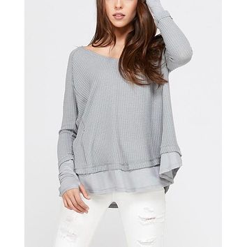 Thumb Hole Long Sleeve Layered V-Neck Waffle Knit Thermal Sweater Top in Grey