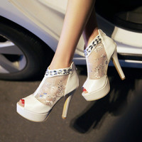New sexy high heels stiletto shoes women pumps spring summer platform shoes white heels women peep toe wedding shoes bride