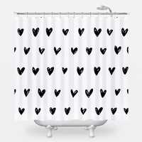 Inked Hearts Shower Curtain