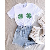 distracted - Shamrock Boobs T-Shirt | Unisex St Patricks Day Shirt - White