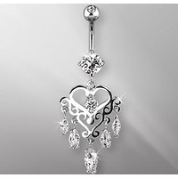 316L Surgical Steel Gemmed Chandelier Heart Dangle Navel Ring