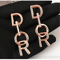 DIOR 925 Popular Women Personality Golden Letter Pendant Long Style Earrings Accessories Jewelry I13697-7