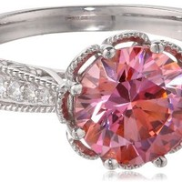 Sterling Silver Pink and White with Swarovski Zirconia Round Ring, Size 7