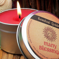 MANY BLESSINGS CANDLE - All Purpose Blessing Candle For Abundance Health Wealth Love Joy Peace Friendship - Blessed Candle with Sun Symbol