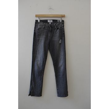 "FRAME Denim ""Le High Straight"" Zipper Ankle Grey Wash Jean (26)"
