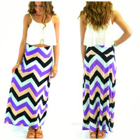 Sunset Waters Beige Chevron Maxi Skirt