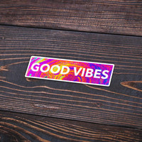"""Good Vibes In Color - Pack Of 3 - 5"""" Long - Personalized Sticker - Die Cut"""