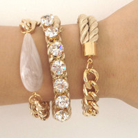 Arm candy set - Chunky chain and Silk Bracelets - 24k gold plated