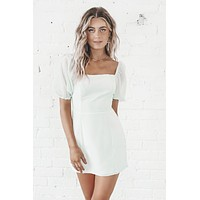Save The Date Sage Puff Sleeve Dress