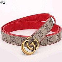 GUCCI classic double G buckle smooth buckle men and women models wild trend pants belt