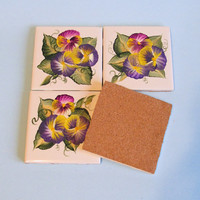 Pansy Coaster Set of 4, Hand-painted Purple Pansy Tiles
