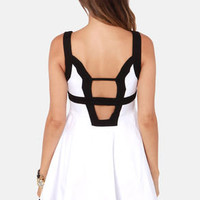 Forget-Me-Not Cutout Black and White Dress