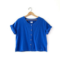 vintage loose fit top. blue cotton shirt. button front minimalist blouse. minimal slouchy shirt. oversized top. M  L