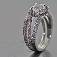 14kt White Gold and Diamond Bridal Set (Engagement Ring and Wedding Band)