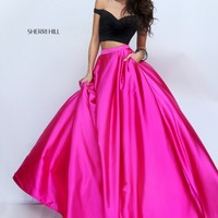 Sherri Hill 50194 Black Pink Off The Shoulder 2 PC Gown