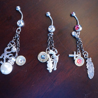 Extreme dangle bullet belly button/naval rings with Charms and swarovski crystals