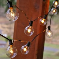 Globe String Lights, 2 Inch E12 Bulbs, 100 Foot Black Wire C7 Strand, Clear