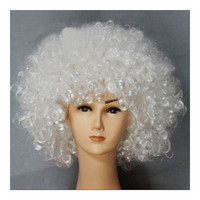 Fashion Afro Cosplay Curly Clown Party 70s Disco Cosplay Wig Cheering Squad Clown   white