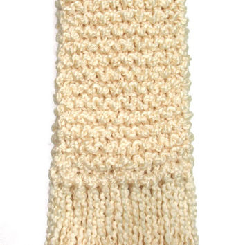 Cream Scarf Chunky Knit Long Soft Warm Hand Knitted Ivory Cream Almond White Scarf Winter Spring Accessory Men Women Teen Girl