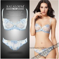 Big Brand Europe and America Women Bra Set,Sexy Luxury Embroidery Push Up Lace Bra Set and Transparent Panty Set BS230