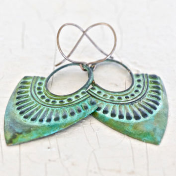 Hammered Shield Earrings in a Beautiful Green Patina - Power, Protection, Vintage