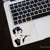 Audrey  Hepburn Frontal MackBook Decal sticker 11'' 13'' 15'' 17'' Ipad