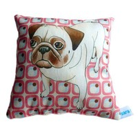 Mini cushion decorative pillow featuring Pug dog lavender scented
