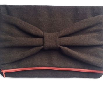 Herringbone Wool Clutch