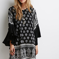 Paisley Ruffle-Sleeve Shift Dress