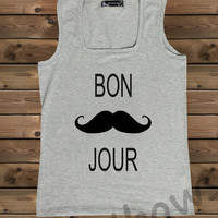 Women's Tank , Screenprinted,Mustaches Bonjour on a U Ladies Tank,Tank,Tanktops,Gray Tank,Size S, M, L