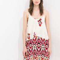 White Floral Print Strappy Double-Layer Dress