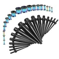 Gauges Kit Black Tapers Rainbow Plugs Steel 14G-00G Stretching Set 36 Pieces
