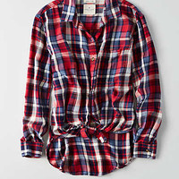 AEO Oversized Flannel Shirt, Burgundy