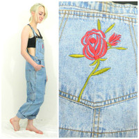 80s 90s retro overalls / Vintage denim overalls / Jean jumpsuit romper blue embroidered hipster overalls size small
