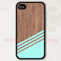 wood iPhone 4 Case, iphone 4s case, mint green Geometric iphone 4 case, iPhone Hard Case