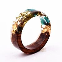 Qiaose Handmade Secret New Wood Resin Ring Flowers Plants Inside Jewelry New Novelty Wood Ring Anniversary Ring