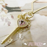 Elegant Heart Key and Crown Necklace SP140380