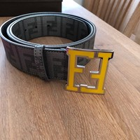 fendi belt, grey with yellow buckle, 110/44, new unworn