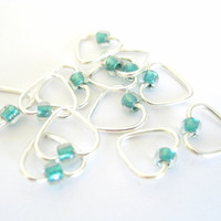 Small Stitch marker set | Heart-shaped | Stitchmarkers | Stitchmarker for lace | Knitting tools | silver with clear green beads |  #0627