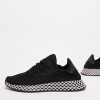 adidas Originals Deerupt Sneakers In Black And Lilac at asos.com