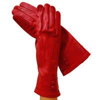 Womens Red Italian Leather Gloves With Belt.