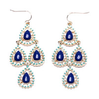 Moroccan Chandelier Earrings - Blue