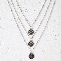 Layered Sunburst Charm Necklace