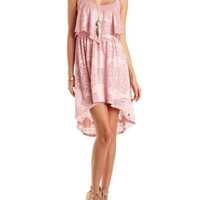 Lace Flounce High-Low Dress by Charlotte Russe